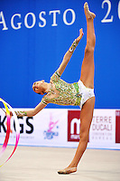 Varara Filiou of Greece performs with ribbon at 2010 Pesaro World Cup on August 28, 2010 at Pesaro, Italy.  Photo by Tom Theobald.