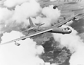 """The B-36, an intercontinental bomber, was designed during World War 2.  The airplane made its maiden flight on August 8, 1946 and on June 26, 1948 the Strategic Air Command received its first B-36 for operational use. By August 1954, when production ended, more than 380 B-36s had been built for the United States Air Force (USAF).  In 1958-59, the B-36 was replaced by the more modern B-52. During the years it was in service, the airplane was one of America's major deterrents to aggression by a potential enemy. The fact that the B-36 was never used in combat was indicative of its value in """"keeping the peace."""".Credit: U.S. Air Force via CNP"""