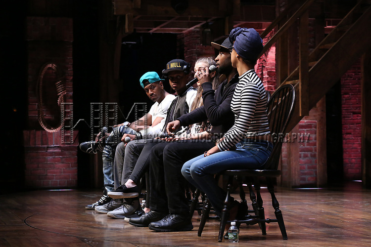 "Bryan Terrell Clark, J. Quinton Johnson, Eliza Ohman, Donald Webber and Syndee Winters from the 'Hamilton' cast during a Q & A before The Rockefeller Foundation and The Gilder Lehrman Institute of American History sponsored High School student #EduHam matinee performance of ""Hamilton"" at the Richard Rodgers Theatre on 5/10/2017 in New York City."