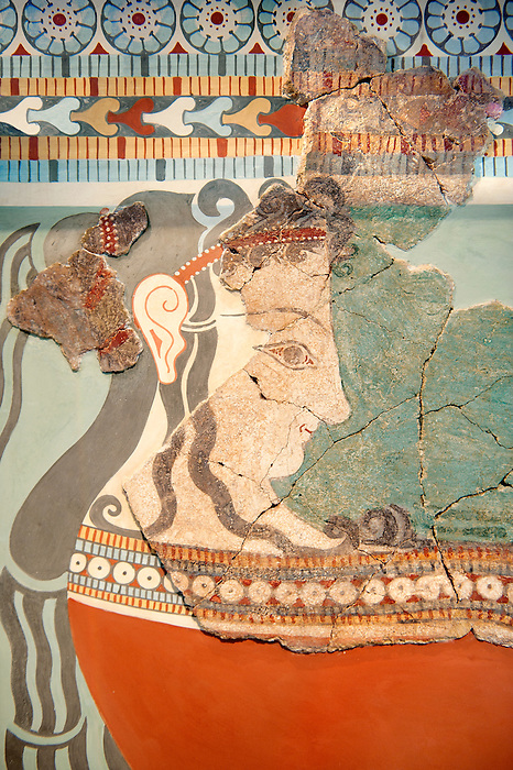 Mycenaean Fresco wall painting  of an elborately dressed women in a procession  from the Tiryns, Greece. 14th - 13th Century BC. Cat No 5883 Athens Archaeological Museum.