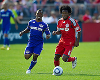 05 June 2010: Kansas City Wizards defender Korede Alyebusi #3 and Toronto FC midfielder Julian de Guzman #6 in action during a game between the Kansas City Wizards and Toronto FC at BMO Field in Toronto..The game ended in a 0-0 draw.