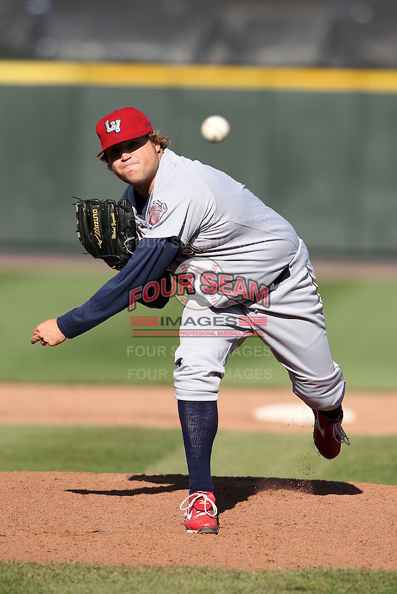 Lehigh Valley Ironpigs relief pitcher Mike Zagurski #41 delivers a pitch during the second game of a double header against the Rochester Red Wings at Frontier Field on April 14, 2011 in Rochester, New York.  Lehigh Valley defeated Rochester 5-3 in extra innings.  Photo By Mike Janes/Four Seam Images