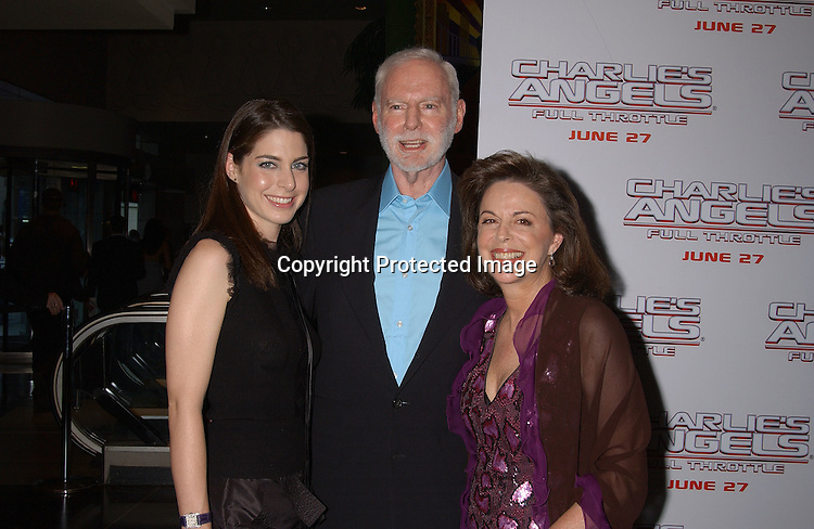 """Leonard Goldberg and Daughter Amanda and wife Wendy                               ..at """"Charlie's Angels Full Throttle"""" movie screening on ..June 25,2003 at the Loews Lincoln Center in New York ..City.  Photo by Robin Platzer, Twin Images"""