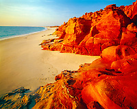 Redrocks and beach, Cape Leveque, Western Australia, Kimberley Region, Indian Ocean, Sunset