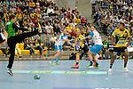 GER - Mannheim, Germany, September 23: During the DKB Handball Bundesliga match between Rhein-Neckar Loewen (yellow) and TVB 1898 Stuttgart (white) on September 23, 2015 at SAP Arena in Mannheim, Germany. Final score 31-20 (19-8) .  Sebastian Arnold #16 of TVB 1898 Stuttgart, Mads Mensah Larsen #22 of Rhein-Neckar Loewen<br /> <br /> Foto &copy; PIX-Sportfotos *** Foto ist honorarpflichtig! *** Auf Anfrage in hoeherer Qualitaet/Aufloesung. Belegexemplar erbeten. Veroeffentlichung ausschliesslich fuer journalistisch-publizistische Zwecke. For editorial use only.