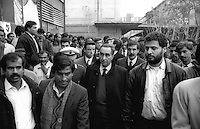 Roma  Novembre 1990.Ex Pastificio Pantanella occupato da centinaia di immigrati asiatici provenienti dal Pakistan e Bangladesh..Il sindaco di Roma Franco Carraro  visita la Pantanella..Rome June 1990.Ex Pastificio Pantanella occupied by hundreds of Asian immigrants from Pakistan and Bangladesh..The mayor of Rome Franco Carraro visits the Pantanella.