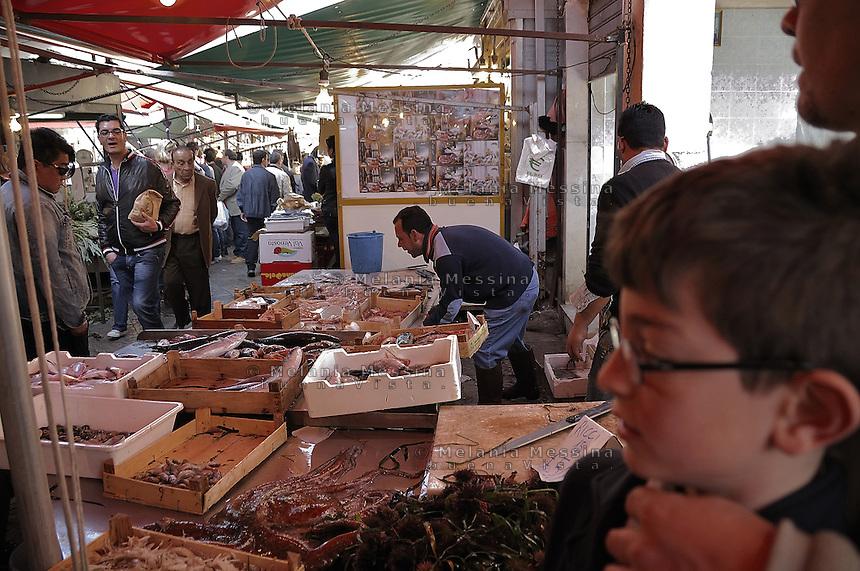 Palermo, Ballar&ograve; market.<br /> Palermo, mercato di Ballar&ograve;.