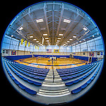 26 October 2014: Circular fisheye 180 degree view of the CMSV gymnasium prior to NCAA Division III women's volleyball play between the Yeshiva University Maccabees and the College of Mount Saint Vincent Dolphins in Riverdale, NY. The Dolphins defeated the Maccabees 3-0. Mandatory Credit: Ed Wolfstein Photo *** RAW (NEF) Image File Available ***