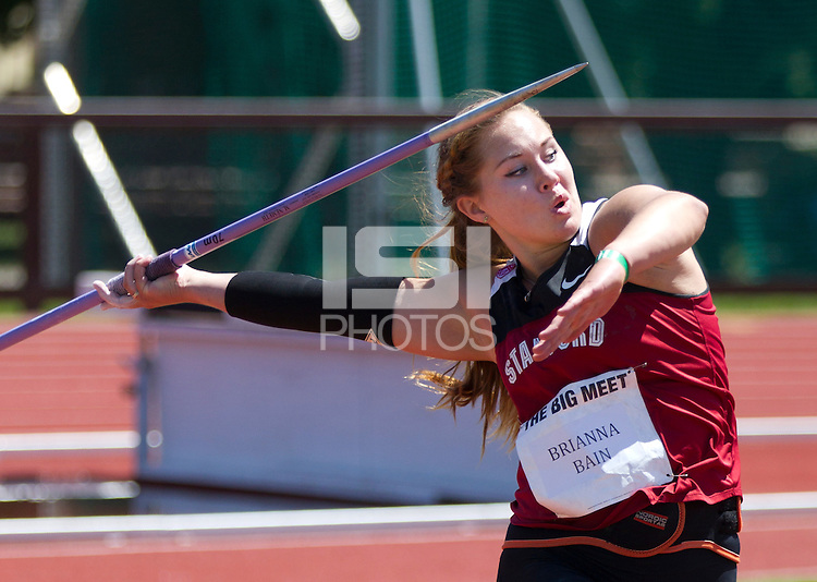 Stanford, CA., April 20, 2013,--Stanford's Brianna Bain throws the javelin during the 119 Big Meet at Cobb Track and Angell Field at Stanford University.
