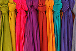 Colorful cotton shawls in a shop, Ait Ben Haddou, Morocco.