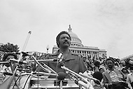 17 Mar 1980, Washington, DC, USA --- Operation PUSH (People United to Serve Humanity) was founded by African-American, Reverend Jesse Jackson (pictured), a political activist for civic rights, notably those of the black community. During the operation thousands of protesters demonstrated, in front of the White House, for employment, against the rising cost of living, and the politics of American President Jimmy Carter. --- Image by © JP Laffont/Sygma/Corbis