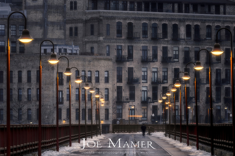 Lighted Stone Arch Bridge walkway in Minneapolis, Minnesota.