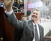 Bob Gaudet (Dartmouth - Head Coach) greets a Big Green fan. - The Boston College Eagles defeated the visiting Dartmouth College Big Green 6-3 (EN) on Saturday, November 24, 2012, at Kelley Rink in Conte Forum in Chestnut Hill, Massachusetts.