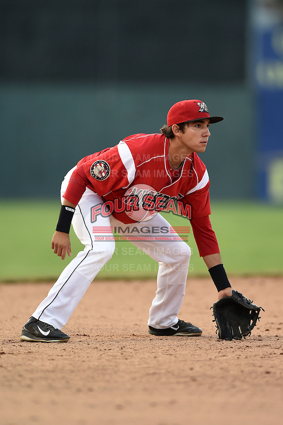 Batavia Muckdogs shortstop Hiram Martinez (15) during a game against the Jamestown Jammers on July 7, 2014 at Dwyer Stadium in Batavia, New York.  Batavia defeated Jamestown 9-2.  (Mike Janes/Four Seam Images)