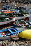 Beached rowing boats Terasitas beach, Santa Cruz. Tenerife, Canary Islands.