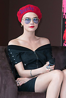 Model Cara Delevigne presents her participation of Magnum X Maschino during the 70th Annual Cannes Film Festival at Plage l'Ondine in Cannes, France, on 18 May 2017. Photo: Hubert Boesl - NO WIRE SERVICE · Photo: Hubert Boesl/dpa /MediaPunch ***FOR USA ONLY***