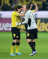 FUSSBALL   1. BUNDESLIGA   SAISON 2011/2012   30. SPIELTAG Borussia Dortmund - FC Bayern Muenchen            11.04.2012 Neven Subotic und Torwart Roman Weidenfeller (v.l., alle Borussia Dortmund)  jubeln nach dem Abpfiff