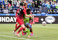 April 26, 2015 - Seattle, Washington: Seattle Sounders FC  host the Portland Timbers in MLS action on the Xbox Pitch at CenturyLink Field.