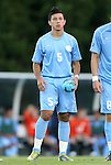 21 September 2012: UNC's Mikey Lopez. The University of North Carolina Tar Heels defeated the University of Virginia Cavaliers 1-0 at Fetzer Field in Chapel Hill, North Carolina in a 2012 NCAA Division I Men's Soccer game.