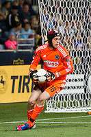 Philadelphia Union goalkeeper Zac MacMath (18). DC United defeated Philadelphia Union 1-0 during a Major League Soccer (MLS) match at PPL Park in Chester, PA, on June 16, 2012.