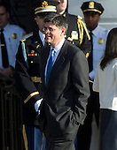 White House Chief of Staff Jacob Lew walks to his positions as United States President Barack Obama and first lady Michelle Obama prepare to welcome Prime Minister David Cameron of Great Britain and his wife, Samantha, to the White House in Washington, D.C. on Wednesday, March 14, 2012..Credit: Ron Sachs / CNP