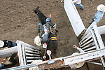 CHAD PILSTER &bull;&nbsp;Hays Daily News<br /> <br /> Brian Leddy rides a bronc on Monday, July 29, 2013, during the Graham County fair and Jayhawker Roundup Rodeo in Hill City, Kansas. Leddy scored a 74.