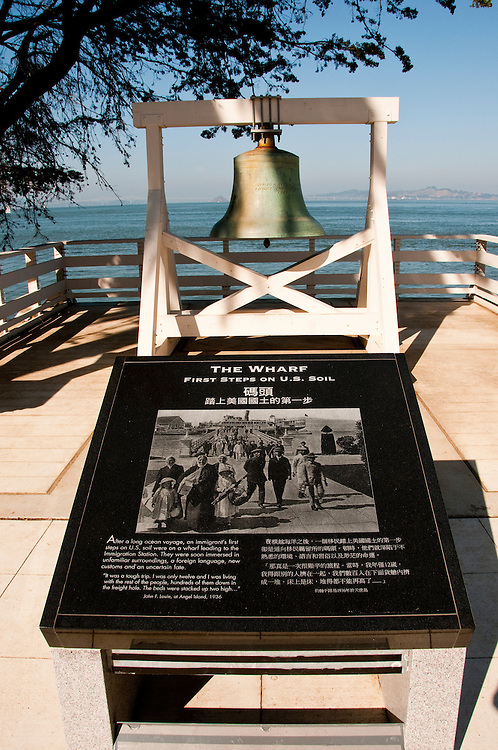 The Wharf sign and bell, Immigration Station, Angel Island, near San Francisco, California, USA.  Photo copyright Lee Foster.  Photo # california108146
