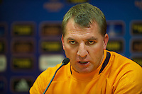 LIVERPOOL, ENGLAND - Wednesday, October 3, 2012: Liverpool's manager Brendan Rodgers during a press conference at Anfield ahead of the UEFA Europa League Group A match against Udinese Calcio. (Pic by David Rawcliffe/Propaganda)