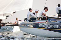 Extreme Sailing Series 2011. Leg 1. Muscat. Oman.Day 5 of racing.   Picture showing Groupe Edmond De Rothschild skippered by Pierre Pennec with teammates Christophe Espagnon,Thierry Fouchier and Herve Cunningham