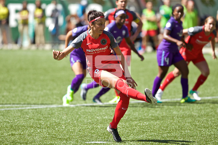Portland, OR - Saturday April 15, 2017: Nadia Nadim during a regular season National Women's Soccer League (NWSL) match between the Portland Thorns FC and the Orlando Pride at Providence Park.