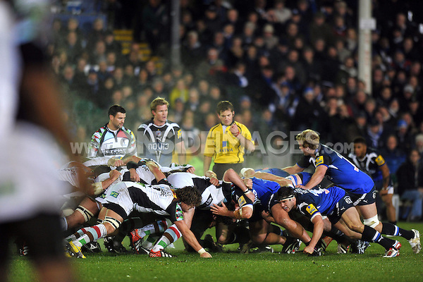 The Harlequins and Bath packs prepare set a scrum. Aviva Premiership match, between Bath Rugby and Harlequins on November 23, 2012 at the Recreation Ground in Bath, England. Photo by: Patrick Khachfe / Onside Images