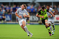 Max Clark of Bath Rugby in possession. Max Clark of Bath Rugby goes on the attack. Pre-season friendly match, between Leinster Rugby and Bath Rugby on August 26, 2016 at Donnybrook Stadium in Dublin, Republic of Ireland. Photo by: Patrick Khachfe / Onside Images