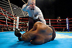 The referee signals for the doctor as Ronald Lee Bellamy lies unconscious during his 12 Rounds Heavyweight fight against Timor Ibragimov at Madison Square Garden in New York City on March 3rd, 2005. Ibragimov won the fight by a 3rd round KO.