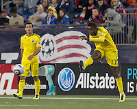 Columbus Crew midfielder Emmanuel Ekpo (17) clears the ball.  In a Major League Soccer (MLS) match, the Columbus Crew defeated the New England Revolution, 3-0, at Gillette Stadium on October 15, 2011.