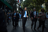 Democratic New York City mayoral candidate Bill de Blasio greets supporters while marching in the 69th Annual Columbus Day Parade in New York,  October 14, 2013, Photo by Kena Betancur / VIEWpress.