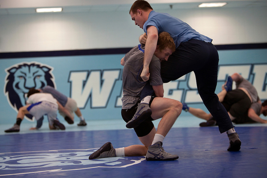 Assistant wrestling coach of the Columbia University's wrestling team, Hudson Taylor live wrestling with Josh Houldsworth at Columbia University in Manhattan, NY on May 20, 2013. Taylor has been one of very few athletes who have supported the LGBT community, even though he himself is straight.