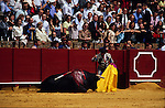 Europe, Spain, Sevilla. Corrida. Bull is killed during bullfight.1998.'MEAT' across the World..foto © Nigel Dickinson