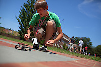 David Mosco, 14, test drives his solar-powered car built in Principles of Engineering Design class during Center for Talented Youth summer program at Lafayette College in Easton, PA on July 06, 2012. Several students were part of the Rural Connections scholarship program being offered for the first time this year.