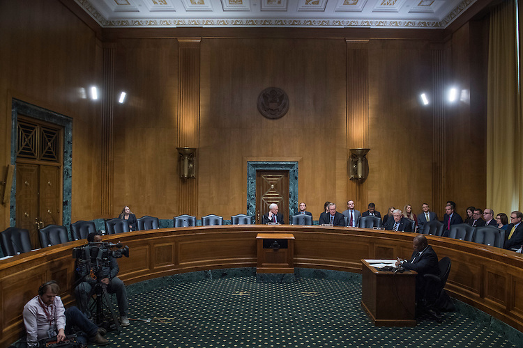 UNITED STATES - JANUARY 31: Senate Finance Committee Chairman Sen. Orrin Hatch, R-Utah, oversees a scheduled vote in Dirksen Building that Democrats boycotted on Rep. Tom Price, R-Ga., nominee for HHS secretary and Steve Mnuchin, nominee for Treasury secretary, January 31, 2017. (Photo By Tom Williams/CQ Roll Call)