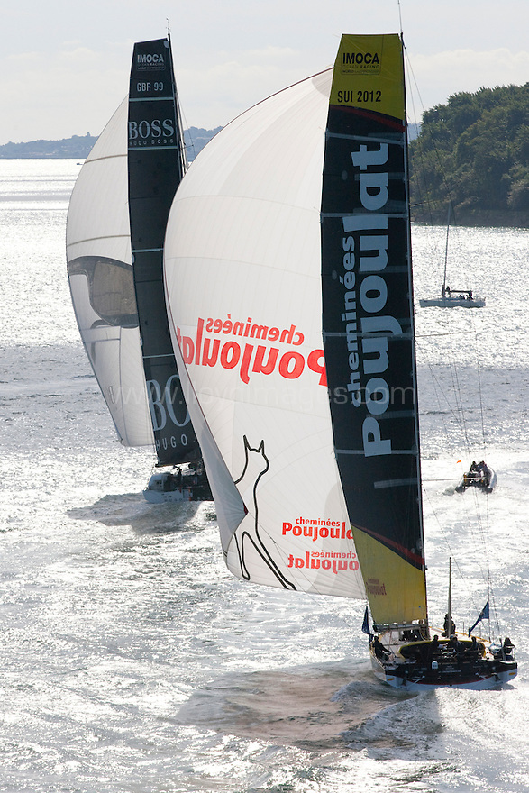 10th August 2011. Cowes. Isle of Wight..Pictures of Cheminées Poujoulat, skippered by Bernard Stamm, during The Artemis Challenge round the Island race...Aberdeen Asset Management Cowes Week 2011...Credit: Lloyd Images.