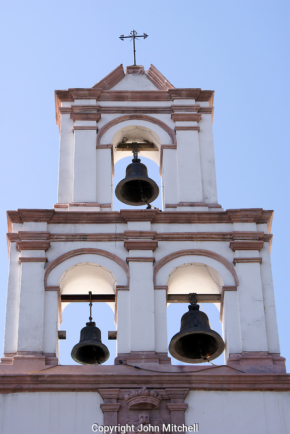 Spanish colonial church bell tower or campania, in the city of San Luis de Potosi, Mexico