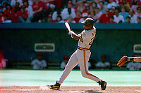 ST. LOUIS, MO - Barry Bonds of the Pittsburgh Pirates bats during a game against the St. Louis Cardinals at Busch Stadium in St. Louis, Missouri on September 30, 1990. Photo by Brad Mangin