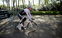 Fabian Cancellara (SUI/TREK-Segafredo) leaving the hotel for the first pre-Giro training ride with Team Trek-Segafredo in Gelderland (The Netherlands)<br /> <br /> 99th Giro d'Italia 2016