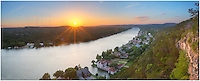 Taken from high above the cool waters of the Colorado River, this Austin panorama from Mount Bonnell highlights the Texas Hill Country to the west, as well as the 360 Bridge (known formally as Pennybacker Bridge). Looking east, you would see the Austin skyline rising in the distance.