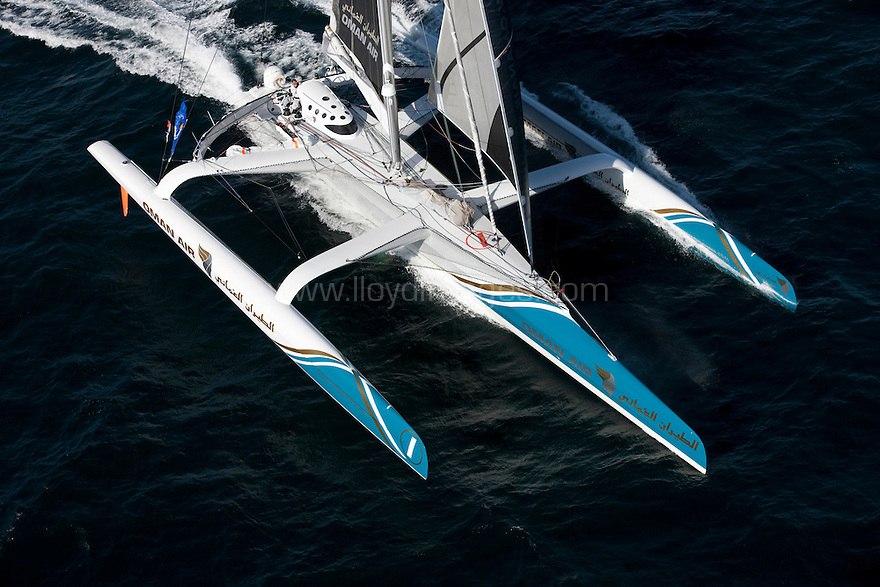 Pictures of the Oman Air &quot;Majan&quot; trimaran in training prior to the solo transatlantic race &quot;The Route du Rhum 2010&quot;