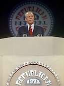 United States Representative Gerald R. Ford (Republican of Michigan) speaks at the 1972 Republican National Convention in Miami, Florida on August 22, 1972.<br /> Credit: Arnie Sachs / CNP