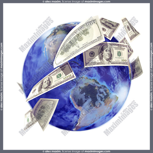 International business concept, capital turnover, global economy symbol. Money, US dollar bills, currency, flying around the globe. Isolated illustration on white background.