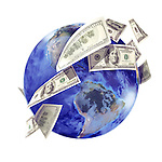 International business concept, capital turnover, global economy symbol. Money, US dollar bills, currency, flying around the globe. Isolated illustration on white background.
