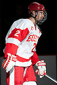 Ryan Ruikka (BU - 2) - The visiting University of Massachusetts Lowell River Hawks defeated the Boston University Terriers 3-0 on Friday, February 22, 2013, at Agganis Arena in Boston, Massachusetts.