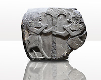 Picture & image of a Neo-Hittite orthostat with a releif sculpture of Bull Men from The legend of Gilgamesh , Karkamis, Turkey. Ancora Archaeological Museum. 4